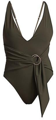Jonathan Simkhai Niya Deep V-Neck Tie-Waist One-Piece Swimsuit