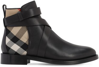 Burberry 30mm Pryle Leather & Check Ankle Boots