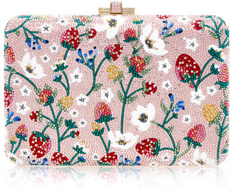 Judith Leiber Strawberry Patch Slim Slide Crystal Clutch