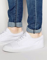 Asos Lace Up Sneakers in White Canvas With Toe Cap