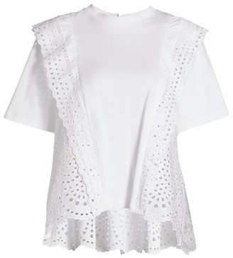 Sea Ruffle Lace Eyelet-Trim T-Shirt