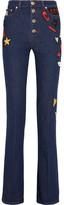 Sonia Rykiel Embroidered High-rise Flared Jeans - Dark denim