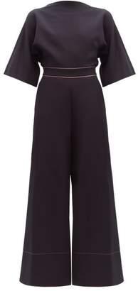 Roksanda Aria Bow Embellished Crepe Jumpsuit - Womens - Navy Multi