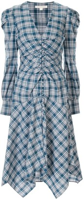 Jonathan Simkhai oxford cotton plaid draped dress