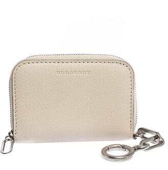 Burberry Beige Leather Zip Wallet