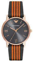 Emporio Armani Analog Kappa Leather and Nylon Strap Watch