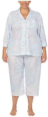 Lauren Ralph Lauren Plus Size Jersey Knit 3/4 Sleeve Notch Collar Capri Pants Pajama Set (Mint Paisley) Women's Pajama Sets