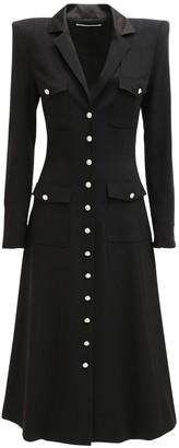 Alessandra Rich Wool Crepe Midi Dress W/ Pockets