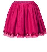 John Lewis Girls' Mesh And Sequin Skirt, Berry