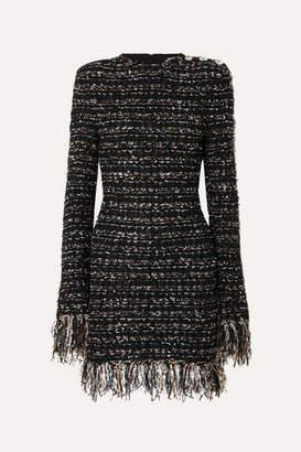 Balmain Button-embellished Frayed Metallic Tweed Mini Dress - Black