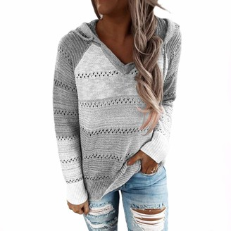 MoneRffi Womens Knitted Jumpers Long Sleeve Hollow Out Hoodies Beach Bonfire Fuzzy Pullover Tops Sweatshirts