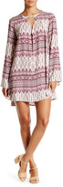 En Creme Printed Bell Sleeve Tunic Dress