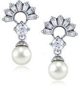 Lord & Taylor Faux Pearl, Cubic Zirconia and Sterling Silver Fan Drop Earrings