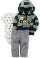 Carter's 3-Pc. Striped Fleece Hoodie, Bodysuit & Pants Set, Baby Boys (0-24 months)