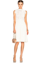 Valentino Sleeveless Dress with Macrame Top
