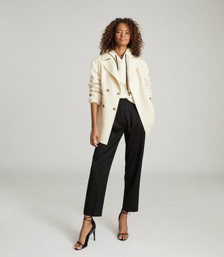 Reiss AMBER BLIND SEAM DOUBLE BREASTED COAT Cream