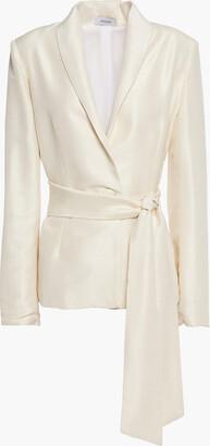 Isolda Belted Silk-shantung Blazer