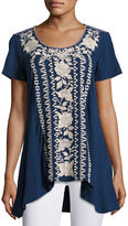 Johnny Was Letty Embroidered-Panel Tunic, Plus Size
