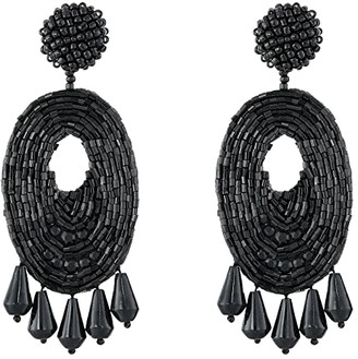 Kenneth Jay Lane Oval w/ Drops Round Top Earrings (Light Coral) Earring