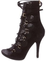 Dolce & Gabbana Mesh Lace-Up Ankle Boots