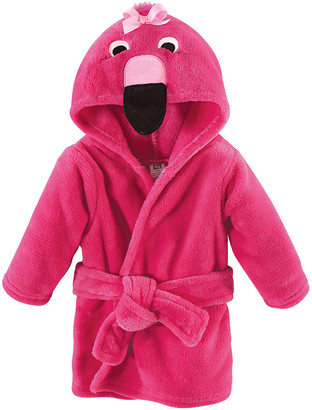 Hudson Baby Girls' Bath Robes Flamingo - Fuchsia Flamingo Plush Hooded Bathrobe - Newborn