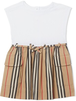 BURBERRY KIDS Icon Stripe short-sleeve dress