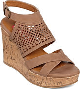 POP Diva Laser-Cut Wedge Sandals