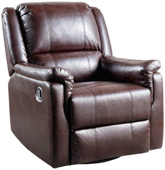 Gdfstudio GDF Studio Jemma Tufted Brown Leather Swivel Gliding Recliner Chair