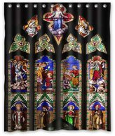 "Church Stained Glass Window Pattern Background Waterproof Shower Curtain/Bath Curtain-Size: 60"" x 72"""