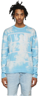 Amiri Blue and White Cashmere Striped Sweater