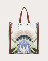 Thumbnail for your product : Valentino Garavani Uomo World Arazzo Print Canvas Tote Bag Man Saddle Brown 70% Cotton 30% Linen OneSize