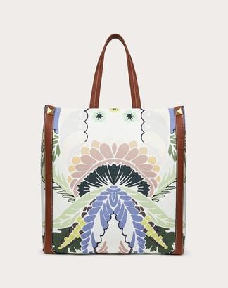Valentino Garavani Uomo World Arazzo Print Canvas Tote Bag Man Saddle Brown 70% Cotton 30% Linen OneSize