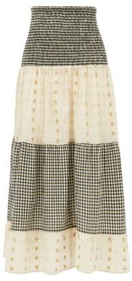 Ace&Jig Daphne Checked Cotton-blend Fil Coupe Midi Skirt - Womens - Black White