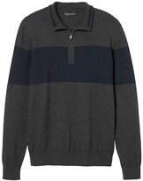 Banana Republic Pima Cotton Cashmere Chest-Stripe Half-Zip
