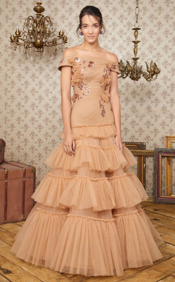 MNM Couture Ruffled Tiered Off Shoulder Gown