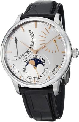 Maurice Lacroix Men's MP6528-SS001130 Masterpiece Black Leather Strap Watch