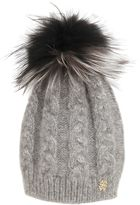 Roberto Cavalli Wool Blend Hat W/ Fox Fur Pompom