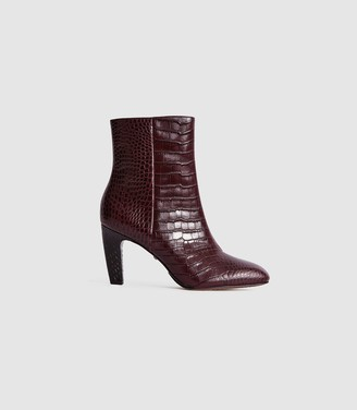 Reiss Sophia Croc - Leather Ankle Boots in Pomegranate