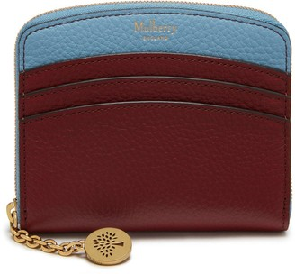 Mulberry Curved Small Zip Around Wallet Crimson Small Classic Grain