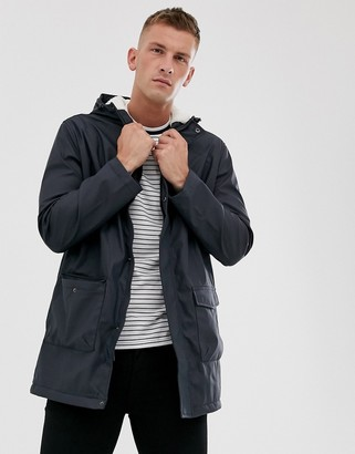 French Connection coated hooded fleece lined parka