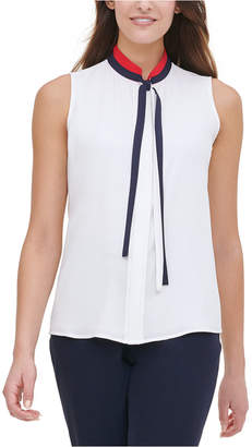 Tommy Hilfiger Tie-Neck Sleeveless Blouse