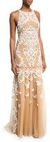 Zuhair Murad Sleeveless Beaded Tulle Gown, White/Neutral