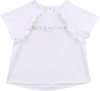 Givenchy Girl's Foiled Logo Ruffle Cotton T-Shirt, Size 12M-3