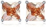 Miki&Co Silver Swarovski Elements Women's Crystal Diamond Square Earrings, with a Gift Box