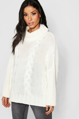 boohoo Maternity Turtleneck Cable Knit Sweater