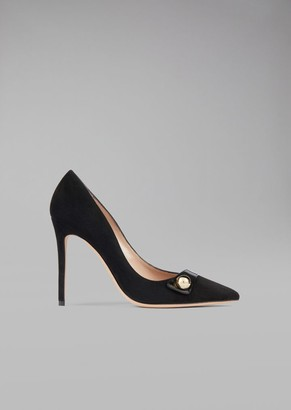 Giorgio Armani Suede Leather Pump With Tuxedo Detail