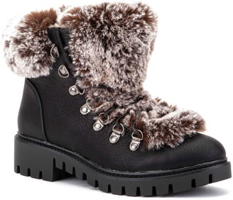OLIVIA MILLER I Want It That Way Faux-Fur Women's Work Boots