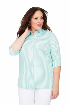 Foxcroft Women's Plus Size Morgan Stretch Non-Iron Day Stripe Shirt