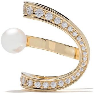 TASAKI 18kt yellow gold Aurora Akoya pearl and diamond ear clip