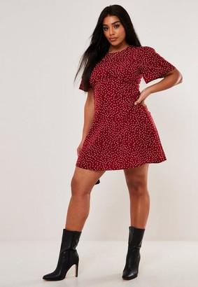 Missguided Size Burgundy Polka Dot Mini Dress